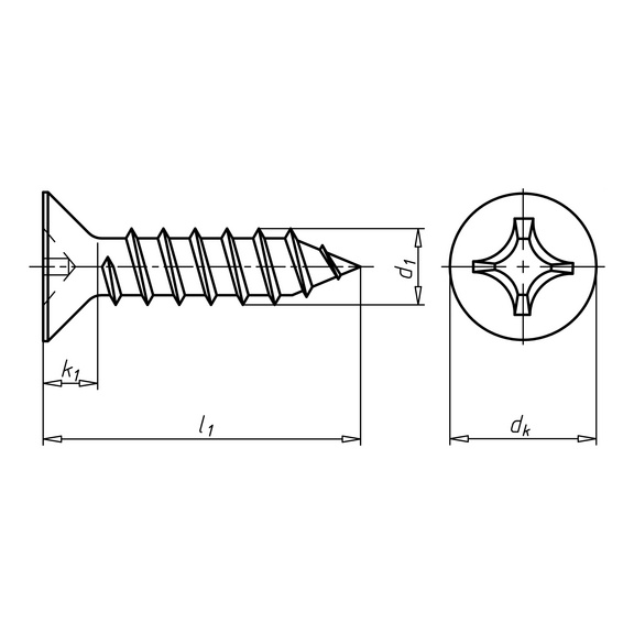 ISO 7050, нерж. сталь А2, 20Н потайн. гол., ф. С - 1