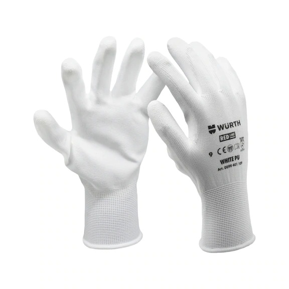 Перчатки защитные Белые, ПУ - 1